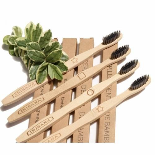 Pack  4 uds cepillos bambú carbon activo, de Irisana