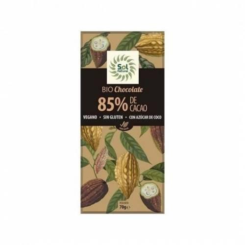 Chocolate Vegano 85% cacao 70g, de Sol Natural