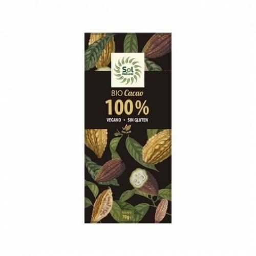 Chocolate Vegano 100% cacao BIO 70g, de Sol Natural