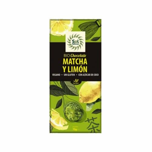 Chocolate Bio Matcha Limón 70g, de Sol Natural