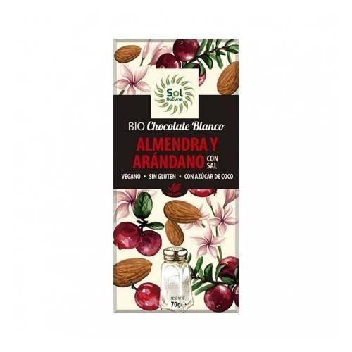 Chocolate Vegano Bio Arandanos 70g, de Sol Natural