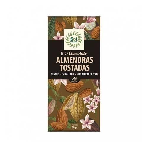 Chocolate Vegano Almendras tostadas 70g,de Sol Natural