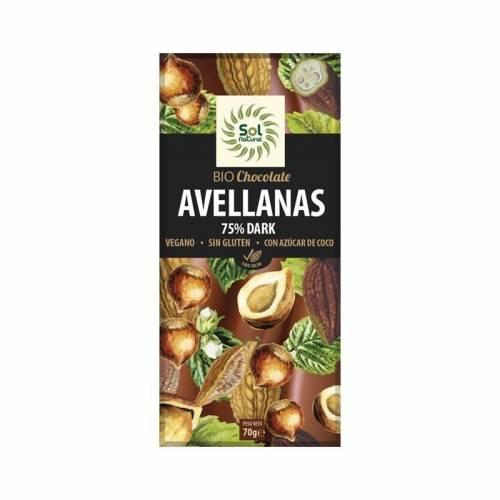 Chocolate Vegano Dark 75% Avellanas 70g, de Sol Natural