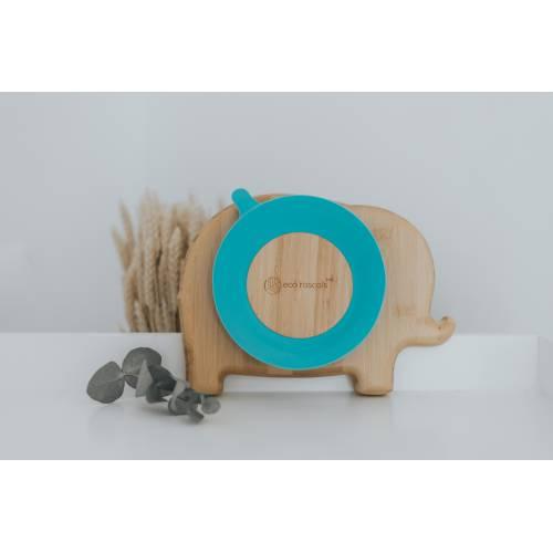 Plato Bambu Elefante con base de succión Azul, Ecorascals