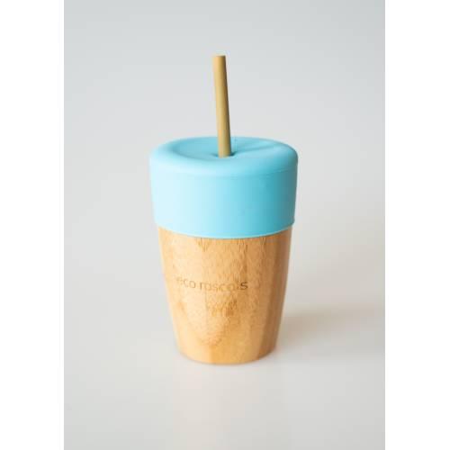 Vaso Bambú con pajita color azul, de Ecorascals