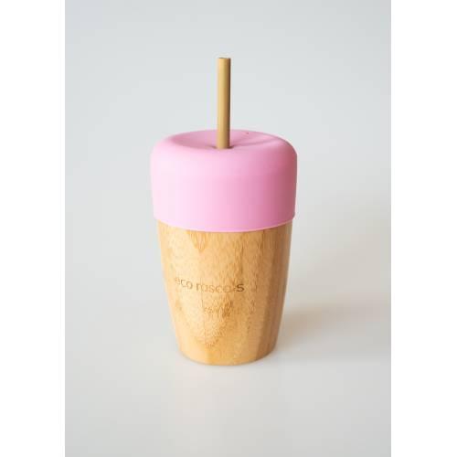 Vaso Bambú con pajita y tapa color rosa, de Ecorascals