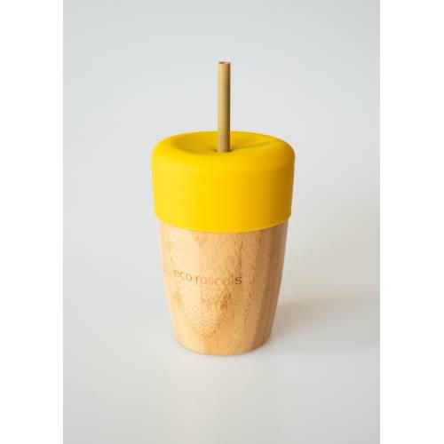 Vaso Bambú con pajita y tapa color amarillo, de Ecorascals
