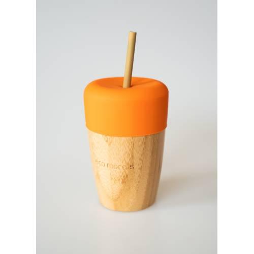 Vaso Bambú con pajita y tapa color naranja, de Ecorascals