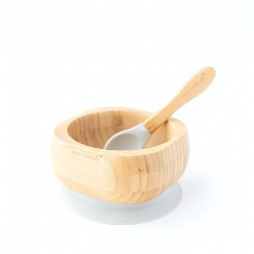Bol Bambú con cuchara y base de succión gris, de Ecorascals
