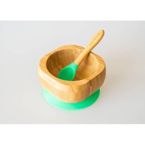 Bol Bambú con cuchara y base de succión verde, de Ecorascals