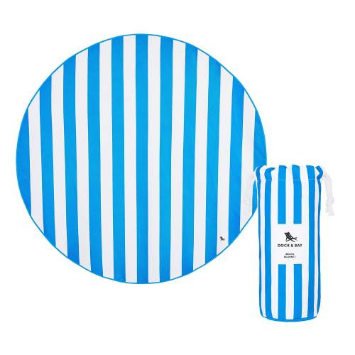 Toalla 100%reciclada redonda listas azules170cm, de Dock&bay